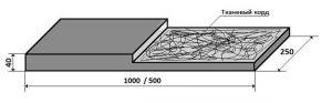 Техпластина 1000х250х40 - 500х250х40, Тканекорд